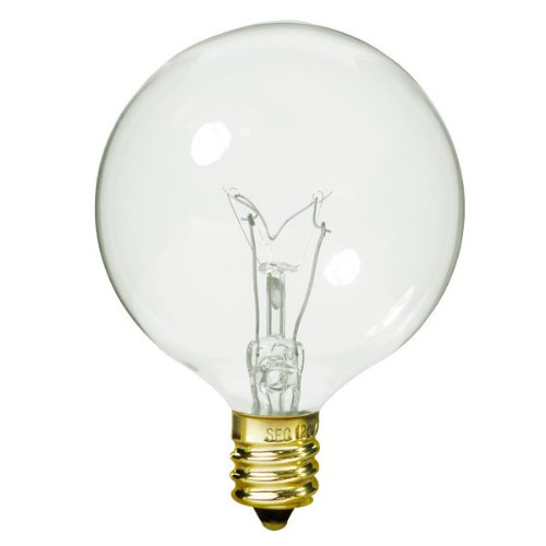 Satco S3823 120V Candelabra Base 40-Watt G16.5 Light Bulb, Clear