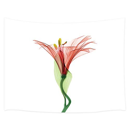 Floral Tapestry, Lily Yellow Flower and Bud with Leaves X-Ray Floral Tapestry Wall Hanging, Wall Tapestry for Bedroom Living Room Dorm TV Background, 71X60 in ()