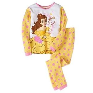 Disney Beauty and The Beast Belle Girls Thermal Underwear 2-Piece Set Size 10 NEW