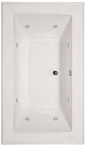 Hydro Systems ANG7242ACO-WHI-WOV.BIS Angel Acrylic Tub with Combo System (Drain Included), Biscuit