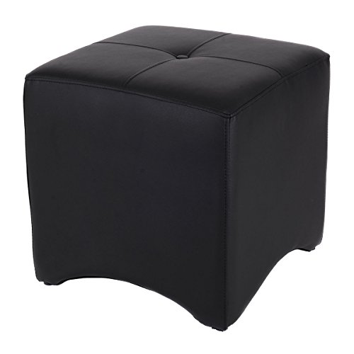 18.1'' Black PU Leather Cube Ottoman Storage Square Foot Stool Rest Seat Capacity 220 Lbs by FDInspiration