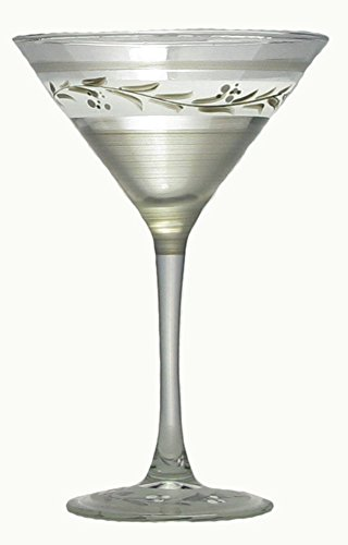 - Set of 2 Pewter Vine Hand Painted Martini Drinking Stemware Glasses - 7.5 Ounces