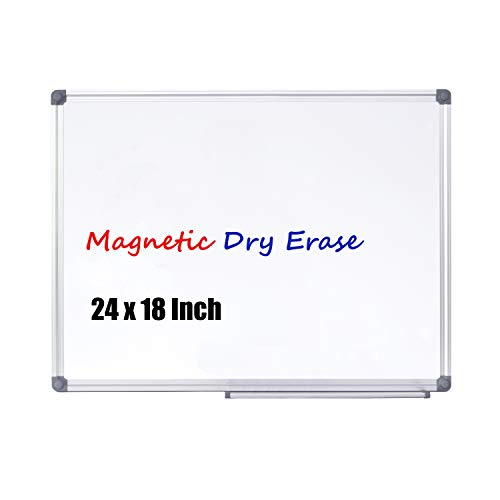 4 Thought Magnetic Dry Erase Board, 24 X 18 Inches Whiteboard Wall-Mounted with Aluminium Frame and Removable Marker Tray, Magnetic Message and Memo Bulletin Board of Commercial Quality ()