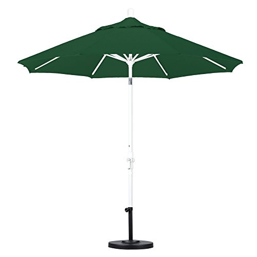 California Umbrella 9' Round Aluminum Market Umbrella, Crank Lift, Push Button Tilt, Black Pole, Sunbrella Forest Green