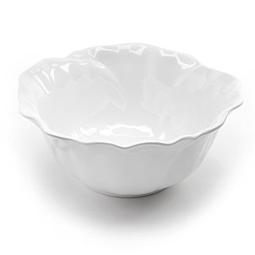 Q Squared Peony BPA-Free Melamine Serving Bowl, 10-Inches, White