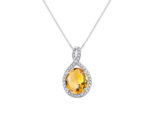 Gorgeous 12x10 Oval Citrine & Diamond Pendant set in Yellow Gold Plated Silver with 18