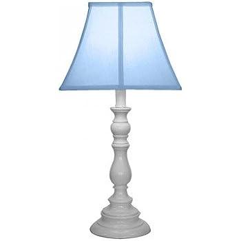 Creative Motion White Base Resin Table Lamp, Light Blue