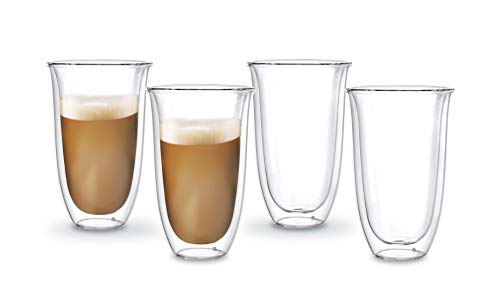 Cheap Bely Set of 4,13 Ounces Strong Double Wall Insulated Glass Coffee Mugs/Tea Cups,Clear