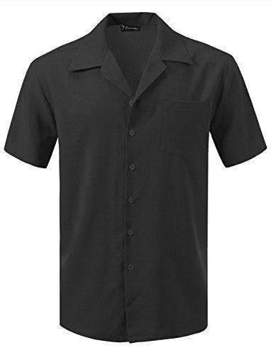 7 Encounter Men's Camp Dress Shirt Black Size XL