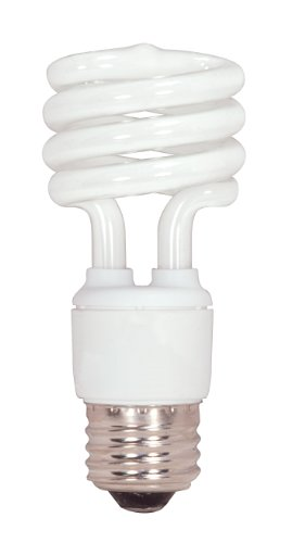 (Satco S7223 15-Watt Medium Base T2 Mini Spiral, 5000K, 120V, Equivalent to 60-Watt Incandescent Lamp for Enclosed)