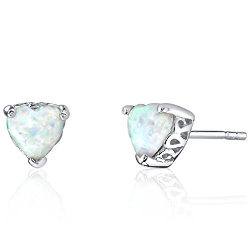 Sterling Silver 1.50 Carats Heart Shape Created Opal Stud Earrings