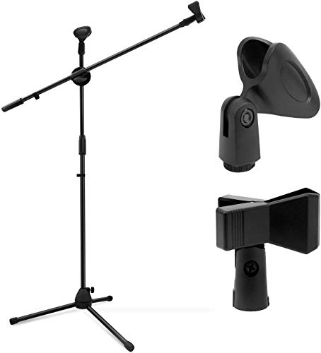 WILSON Metal Swing Boom Floor Metal Stand Adjustable Stage Microphone Stand Tripod Microphone Holder with Mic Clip and Mic Holder (Black)