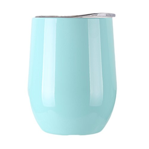 Raleighsee 9 OZ Stainless Steel Wine Glasses Wine Tumbler Cup Heat Preservation Cup Great for Red Wine Cocktail Liquors Beverages (Light blue)