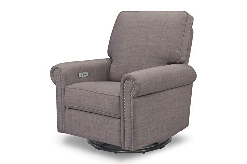 Million Dollar Baby Classic Linden Power Recliner and Swivel Glider with USB Port, Grey Tweed (Dollars Linden)