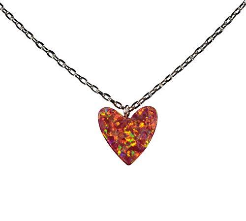 Tingle Fire Opal Heart Necklace Pendant Sterling Silver Red Fire Opal Pendant Necklace 925 Sterling Silver Hot Firing Heart Necklace Pendant for Women (Fire Red Opal ()