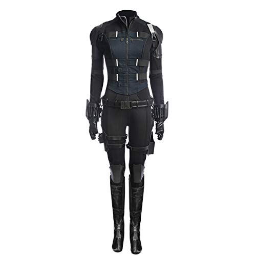 Partyever Women's Deluxe Black Avengers Soldier Costume Widow Halloween Cosplay Full Set Outfits (Large)