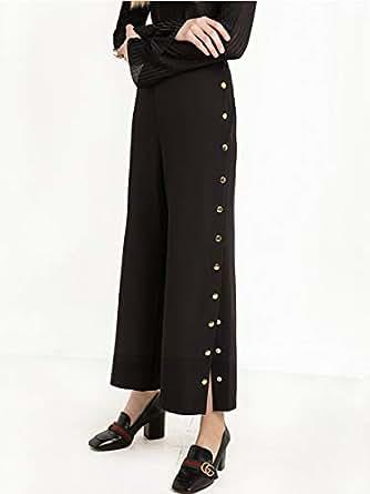 Women's Wide Leg Pants High Waisted Buttons Design Solid Color Pants