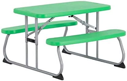 Kids Rectangle One-Hand Adjustment Patio Picnic Table Spring Green