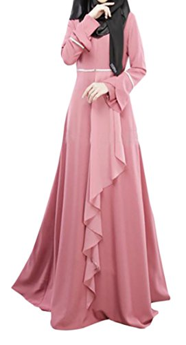 Fulok Womens Muslim Long Sleeve Gown Abaya Islamic Maxi Dress Pink L