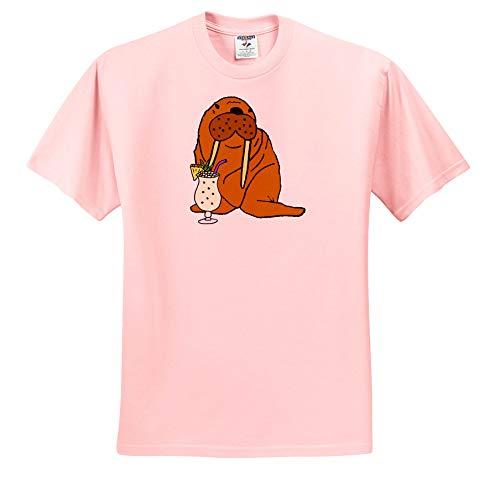 3dRose All Smiles Art - Drinking - Funny Cute Walrus Drinking Pina Colada Beach Cartoon - Toddler Light-Pink-T-Shirt (4T) (ts_317000_49)