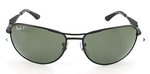 Ray-Ban RB3519 Aviator Sunglasses, Matte Black/Polarized Green, 59 ()