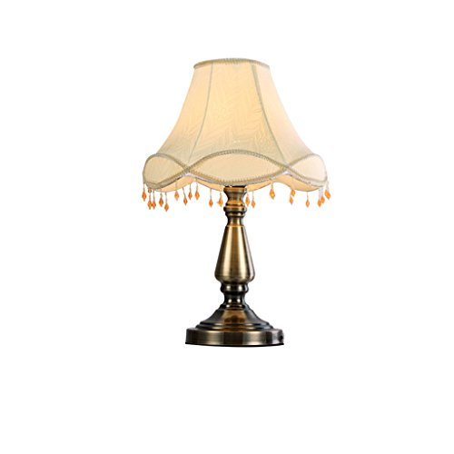 HUACANG European Luxury Metal LED Table lamp, Retro Simple Bedroom Bedside Living Room Cloth Art E27 Decorative Lights (Two-Color Optional) (Color : A1) by HUACANG (Image #5)