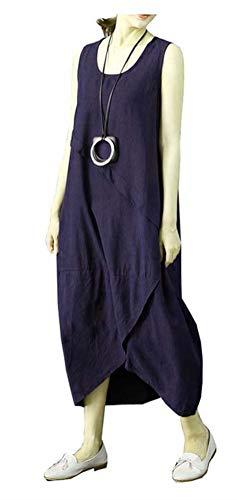 Ninmon Shares Women's Irregular Dress Sleeveless Cotton Linen Loose Casual Long Dress (Style A Dark Blue, XL)