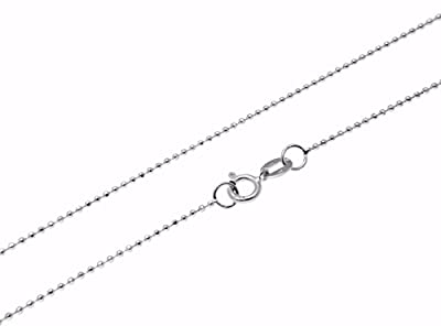 """14k solid white gold diamond cut 1mm bead ball chain necklace 16""""-24"""" by Arthur's Jewelry"""