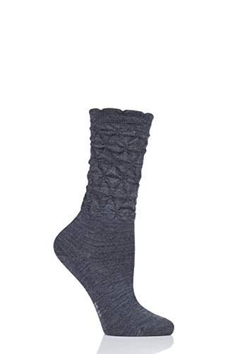 Falke Womens Crumpled Diamond Rib Virgin Wool Socks Pack of 1 Charcoal 7.5-10