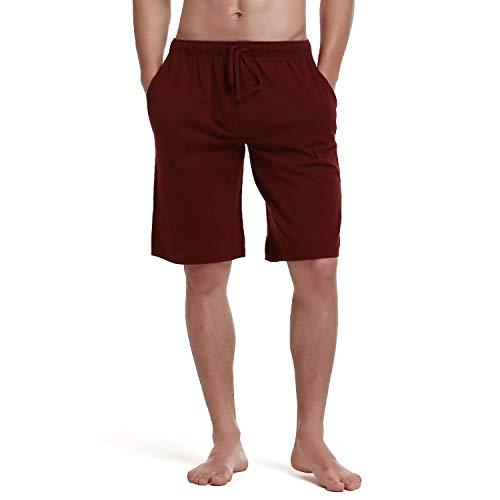 (RENZER Men's Pajamas Pants 100% Knit Cotton Sleep Short Lounge Pants XL Red)