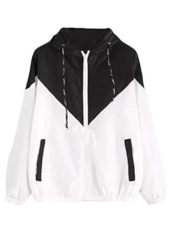 neveraway Women Drawstring Athletic Color Block Hoode Lightweight Short Jackets Black 2XL