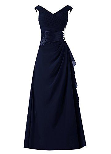 sans demoiselle longue robe manches de mre Marine de d'honneur de V marie robe col Dresstells en soire de robe zq5an4a