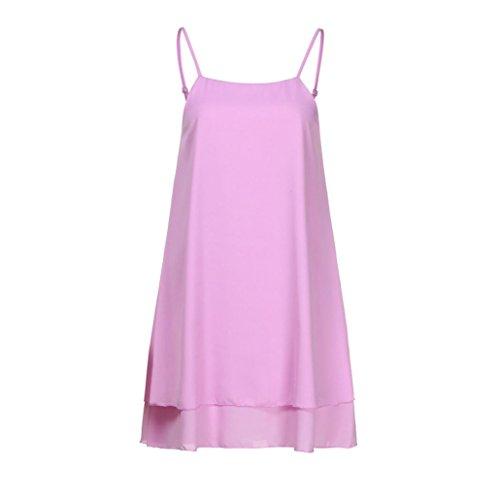 Vestito Rosa Da Plus Elegante Abbigliamento Corto Beikoard Estivo Con Mini Casual Solido Donna Abito Spiaggia Cinturino BZq6wd