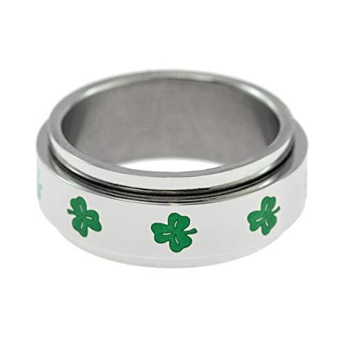 Joyful Sentiments Celtic Jewelry Stainless Steel Shamrock Spinner Ring (Stainless Steel Shamrock Ring)