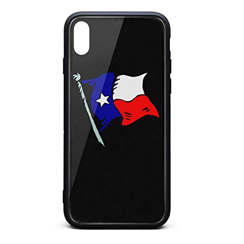 (Phone Case for iPhone Xs Fashion American Flag Clipart Texas Tempered Glass Black Anti-Scratch TPU Rubber Bumper Shock Protector for Women Back Cover)