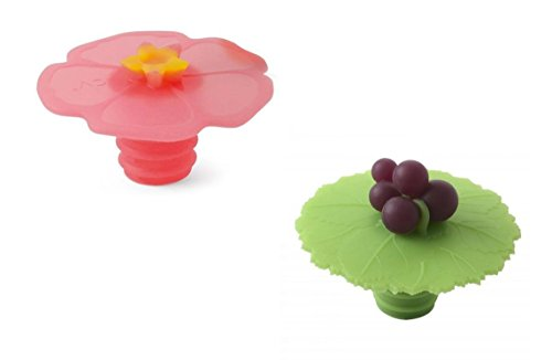 Charles Viancin Bottle Stopper - Pink Hibiscus and Grape, Set of 2