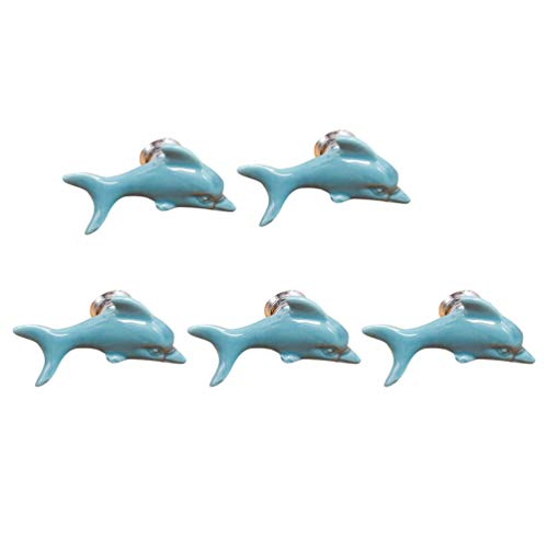 Qlychee 5Pcs Cabinet Drawer Knobs Handles Dolphin White Gray Red Pink Yellow Green Blue Decor