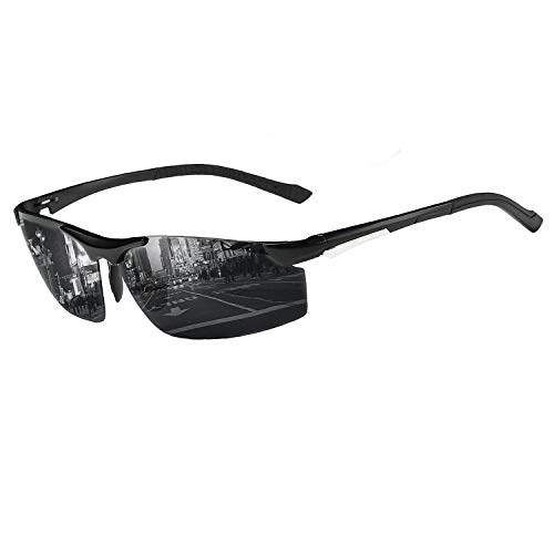 COSVER Mens Sports Style Polarized Sunglasses for Driving Cycling Running Fishing Golf Unbreakable - Metal Frame Al-Mg Glasses (2578-Black, Clear)