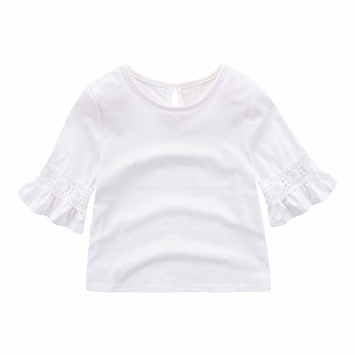 Motecity Fashion Little Girls' Flare Sleeve Lace Top White 6T ()