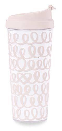 Kate Spade New York Blush Pink Bridal Insulated Thermal Travel Mug, 16 Ounces, Heart Knot