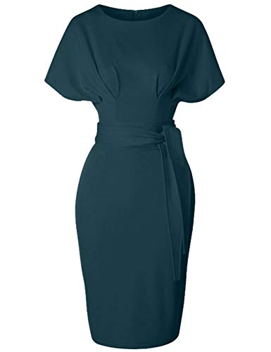 60s Sheath Dress - GownTown Women's 50s 60s Vintage Sexy Fitted Office Pencil Dress DarkGreen