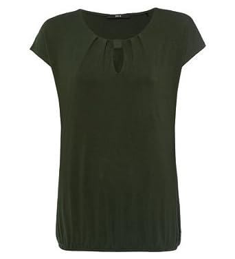 d35287bb6dc665 Zero Damen T-Shirt mit Gerafftem Gummibund 803398 Cypress Olive 34 ...