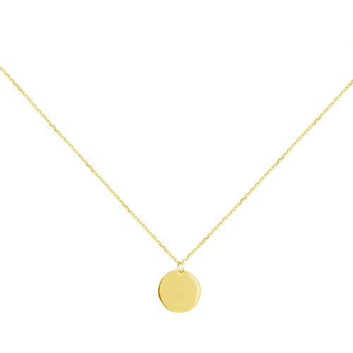Round Gold Coin Pendant Necklace for Women Girls 925 Sterling Silver 18K Simple Small Full Moon Minimalist Geometric Disk Circle Chain Delicate Choker Jewelry Box (Gold Plated)