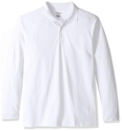 Classroom School Uniforms Men's Adult Unisex Long Sleeve Pique Polo, sos White, ()