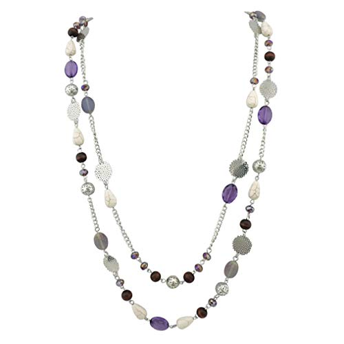 Bocar 14K Gold Plated Link Chain 2 Layer Crystal Wood Acrylic Colorful Women Party Long Necklace Gift (NK-10084-purple)