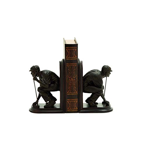 MISC Brown Golf Bookends Decor Golfer Themed Statue Golf Lovers Book Ends Sport Traditional Contemporary Bronze, Resin