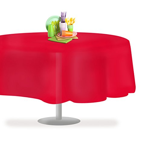 Red 6 Pack Premium Disposable Plastic Tablecloth 84