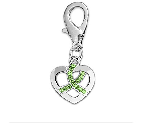 (Fundraising For A Cause Crystal Lime Green Ribbon Silver Heart Hanging Charms (Wholesale Pack - 25 Charms))