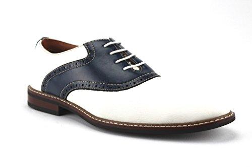 Two Tone Oxford Saddle Shoe (Ferro Aldo Men's 19268A Two Tone Saddle Dress Oxfords Shoes, White/Navy, 9)