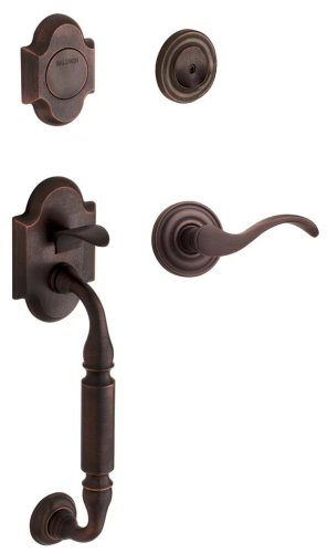 - Baldwin 85305.412.LFD Canterbury Sectional Trim Left Hand Dummy Handleset with Wave Lever, Distressed Venetian Bronze